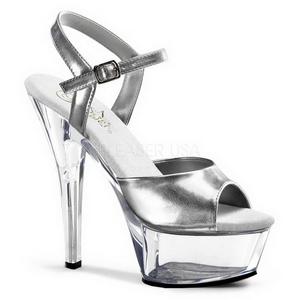 Zilver Transparant 15 cm Pleaser KISS-209 High Heels Damesschoenen
