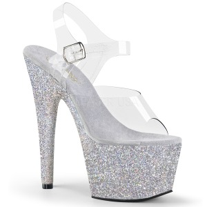 Zilver glitter 18 cm Pleaser ADORE-708HMG paaldans schoenen met hoge hakken