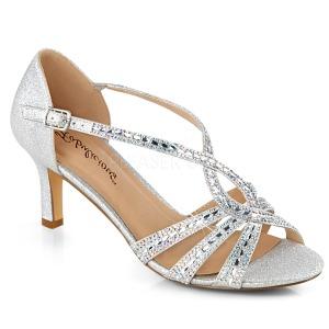 Zilver glitter 6,5 cm Fabulicious MISSY-03 sandalen met naaldhak