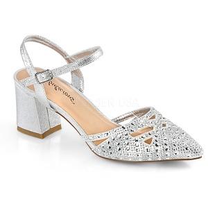 Zilver glitter 7 cm Fabulicious FAYE-06 sandalen met naaldhak