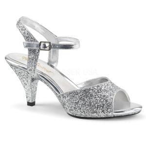 Zilver glitter 8 cm BELLE-309G high heels schoenen voor travestie