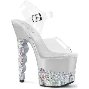 Zilver strass steentjes 18 cm SCALLOP-708-2RS paaldans schoenen met hoge hakken