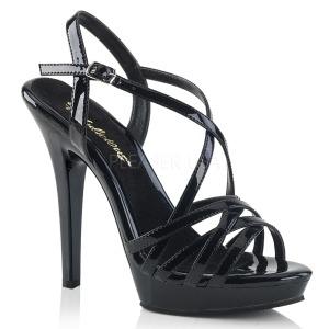 Zwart 13 cm Fabulicious LIP-113 sandalen met naaldhak