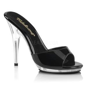 Zwart 13 cm Fabulicious POISE-501 dames slippers met hak
