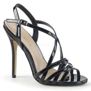 Zwart 13 cm Pleaser AMUSE-13 sandalen met naaldhak