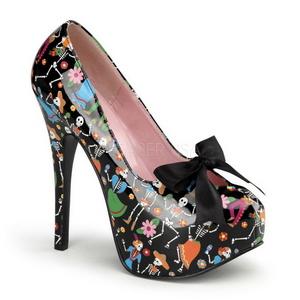 Zwart 14,5 cm Burlesque TEEZE-12-4 damesschoenen met hoge hak