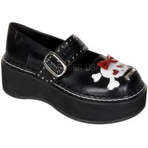 Zwart 5 cm EMILY-221 lolita damesschoenen met plateauzolen
