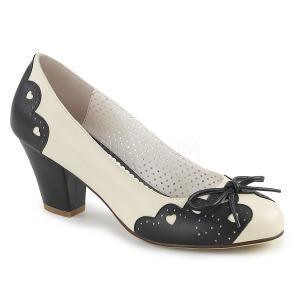 Zwart 6,5 cm retro vintage WIGGLE-17 Pinup pumps schoenen met blokhak