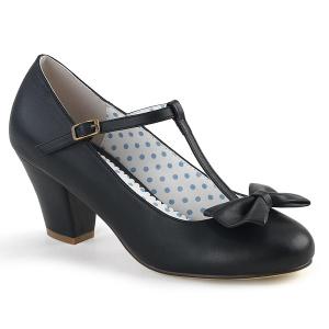 Zwart 6,5 cm retro vintage WIGGLE-50 Pinup pumps schoenen met blokhak