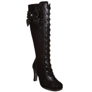 Zwart 9,5 cm GLAM-240 lolita laars dames met hoge hakken