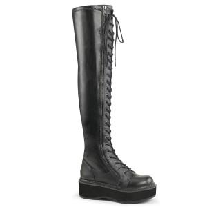 Zwart Kunstleer 5 cm EMILY-375 overknee laarzen met veters
