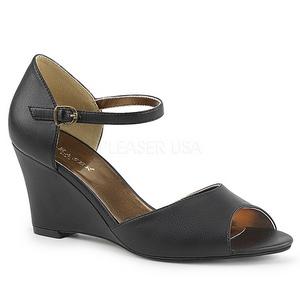 Zwart Kunstleer 7,5 cm KIMBERLY-05 grote maten sandalen dames