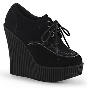 Zwart Kunstleer CREEPER-302 wedge creepers schoenen sleehakken
