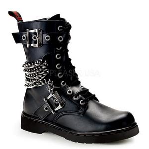 Zwart Kunstleer DEFIANT-204 Laarzen met Gespen Mannen