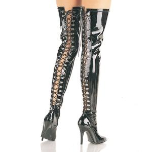 Zwart Lak 13 cm SEDUCE-3063 Lange Overknee Laarzen met Hak