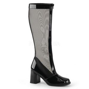 Zwart Lak 8,5 cm GOGO-307 Dameslaarzen met hak voor Heren