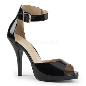 Zwart Lakleer 12,5 cm EVE-02 grote maten sandalen dames