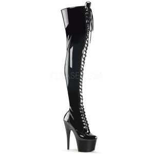 Zwart Lakleer 18 cm ADORE-3023 overknee laarzen met hoge hakken