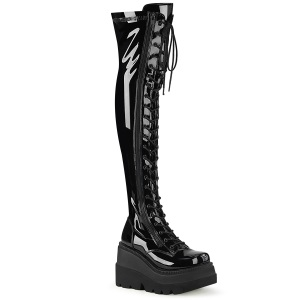 Zwart Lakleer 5 cm EMILY-374 overknee laarzen met veters
