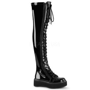 Zwart Lakleer 5 cm EMILY-375 overknee laarzen met veters