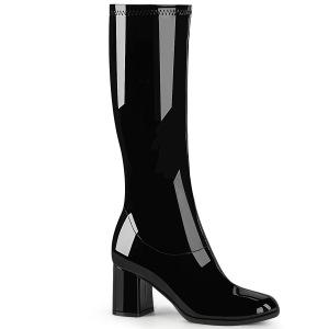 Zwart Lakleer 7,5 cm GOGO-300-2 laarzen met blokhak
