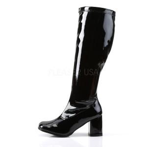 Zwart Lakleer 7,5 cm GOGO-300WC wijde schacht dameslaarzen brede schacht