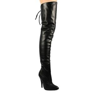 Zwart Leder 13 cm LEGEND-8899 Hoge Overknee Laarzen