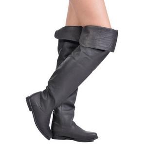 Zwart Leder 8 cm RAVEN-8826 overknee laarzen met hakken