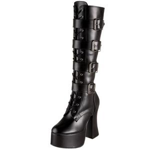 Zwart Mat 12 cm SLUSH-225 Dames Rijglaarzen Hoge Hakken