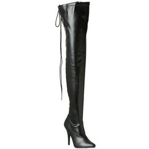 Zwart Mat 13 cm SEDUCE-3063 Lange Overknee Laarzen met Hak