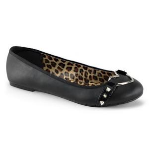 Zwart Mat STAR-21 gothic ballerina platte schoenen