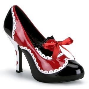Zwart Rood 10,5 cm QUEEN-03 damesschoenen met hoge hak
