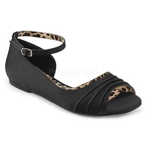 Zwart Satijn ANNA-03 grote maten ballerina´s schoenen