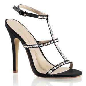 Zwart Steentjes 11,5 cm MELODY-18 Hoge Avond Sandalen met Hak