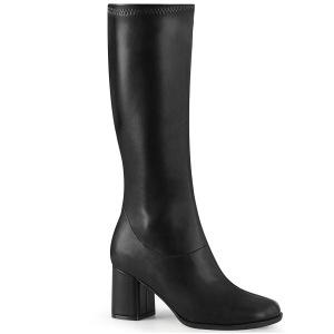 Zwart Vegan 7,5 cm GOGO-300-2 laarzen met blokhak