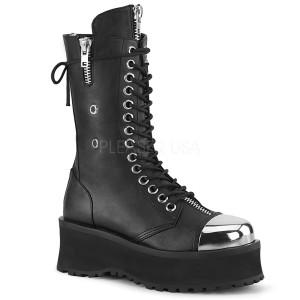 Zwart Vegan 7 cm GRAVEDIGGER-14 demonia laarzen - unisex plateaulaarzen