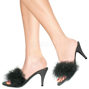 Zwart Veren 8 cm AMOUR-03 Hoge Mules Schoenen voor Mannen
