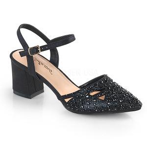 Zwart glitter 7 cm Fabulicious FAYE-06 sandalen met naaldhak