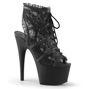 Zwart kant stof 18 cm ADORE-796LC Dames enkellaarsjes met veters