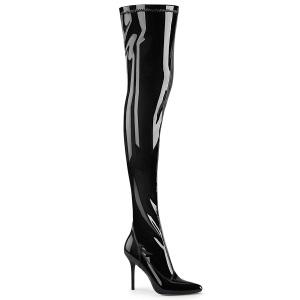 Zwarte laklaarzen 10 cm CLASSIQUE-3000 overknee laarzen naaldhak met puntneus
