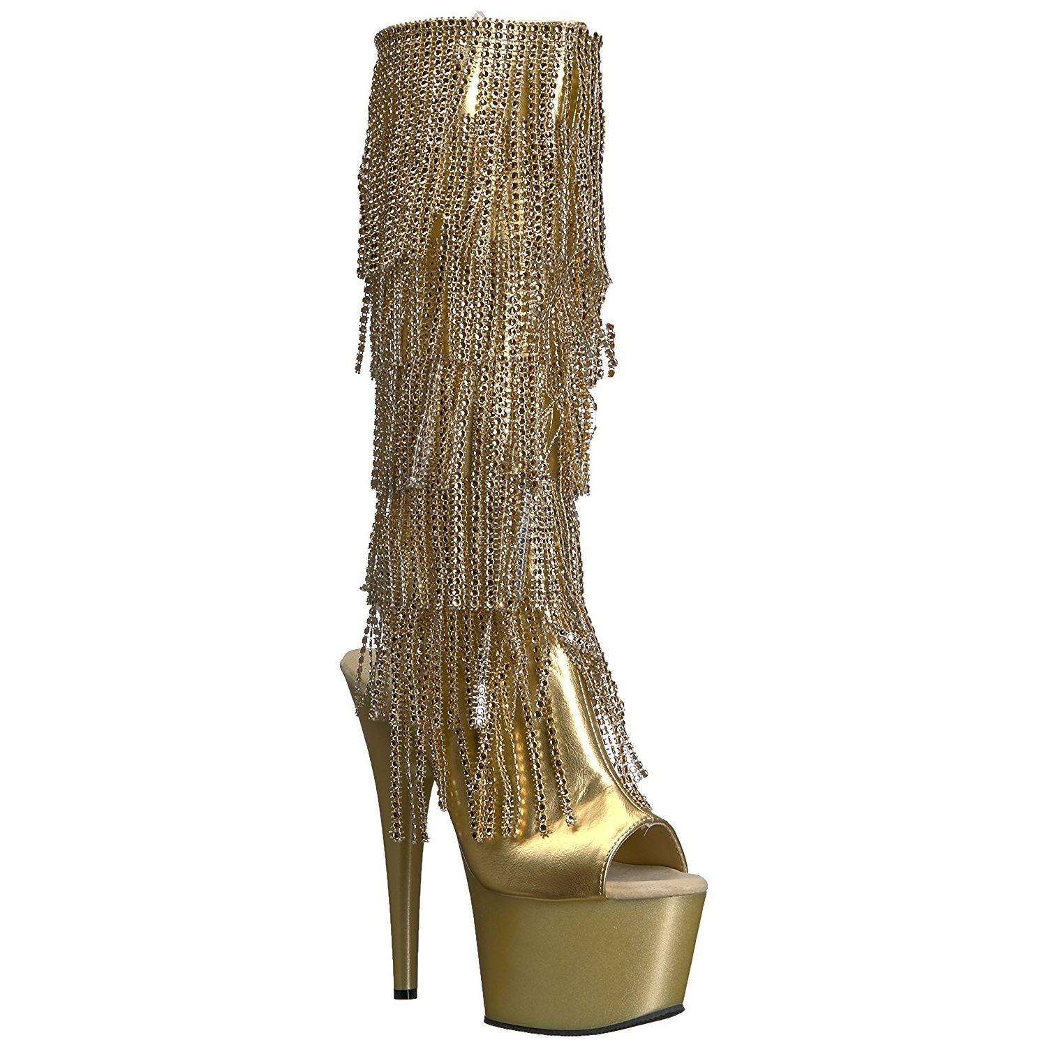 big discount pre order cheap sale Gold Strass 18 cm ADORE-2024RSF womens fringe boots high heels