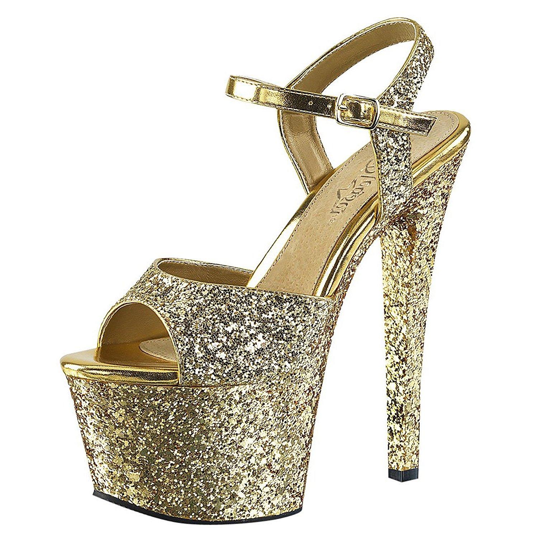 Chaussures Plate-forme De Paillettes D'or qkWfekZKs