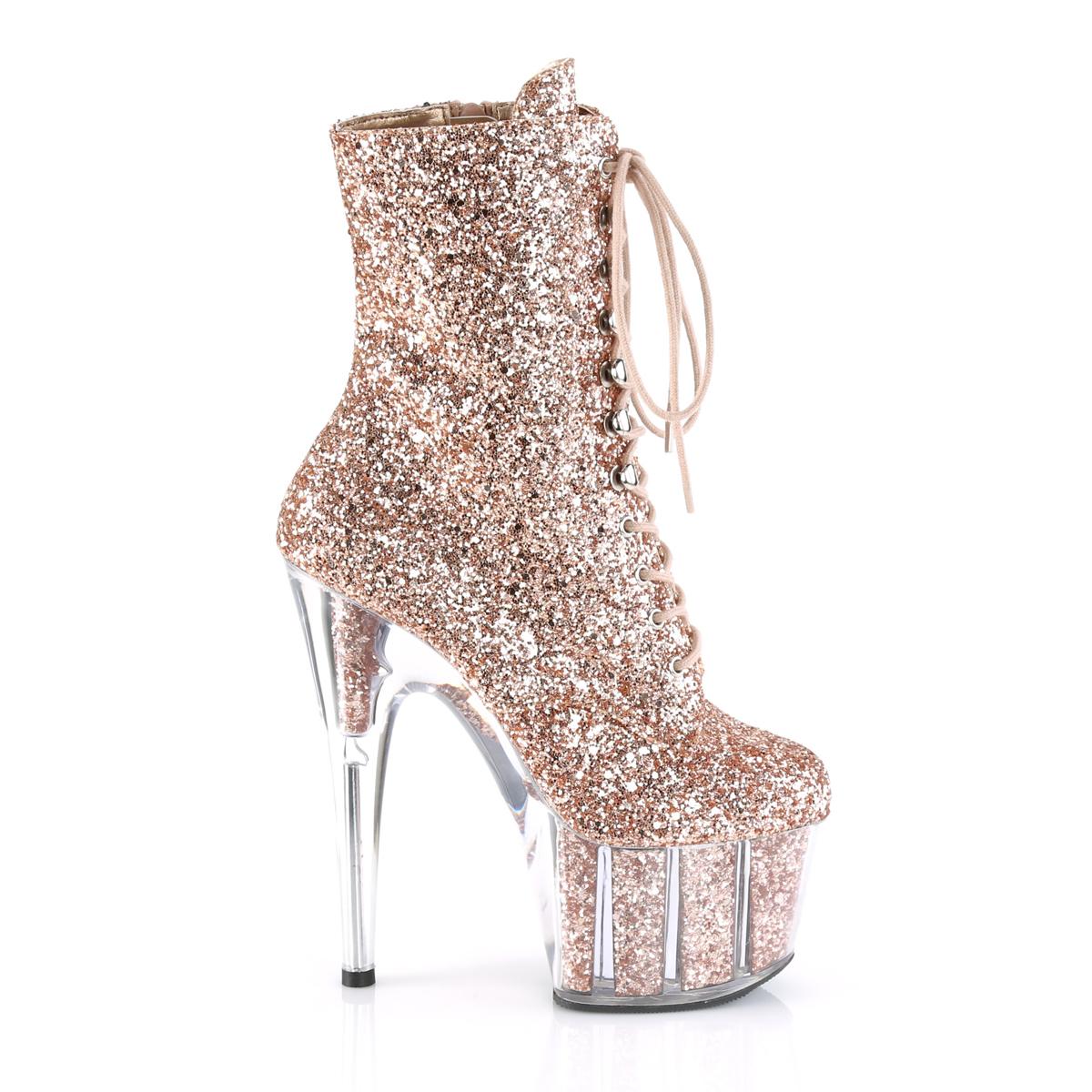 Koperen glitter 18 cm ADORE 1020G dames enkellaarsjes met plateauzool