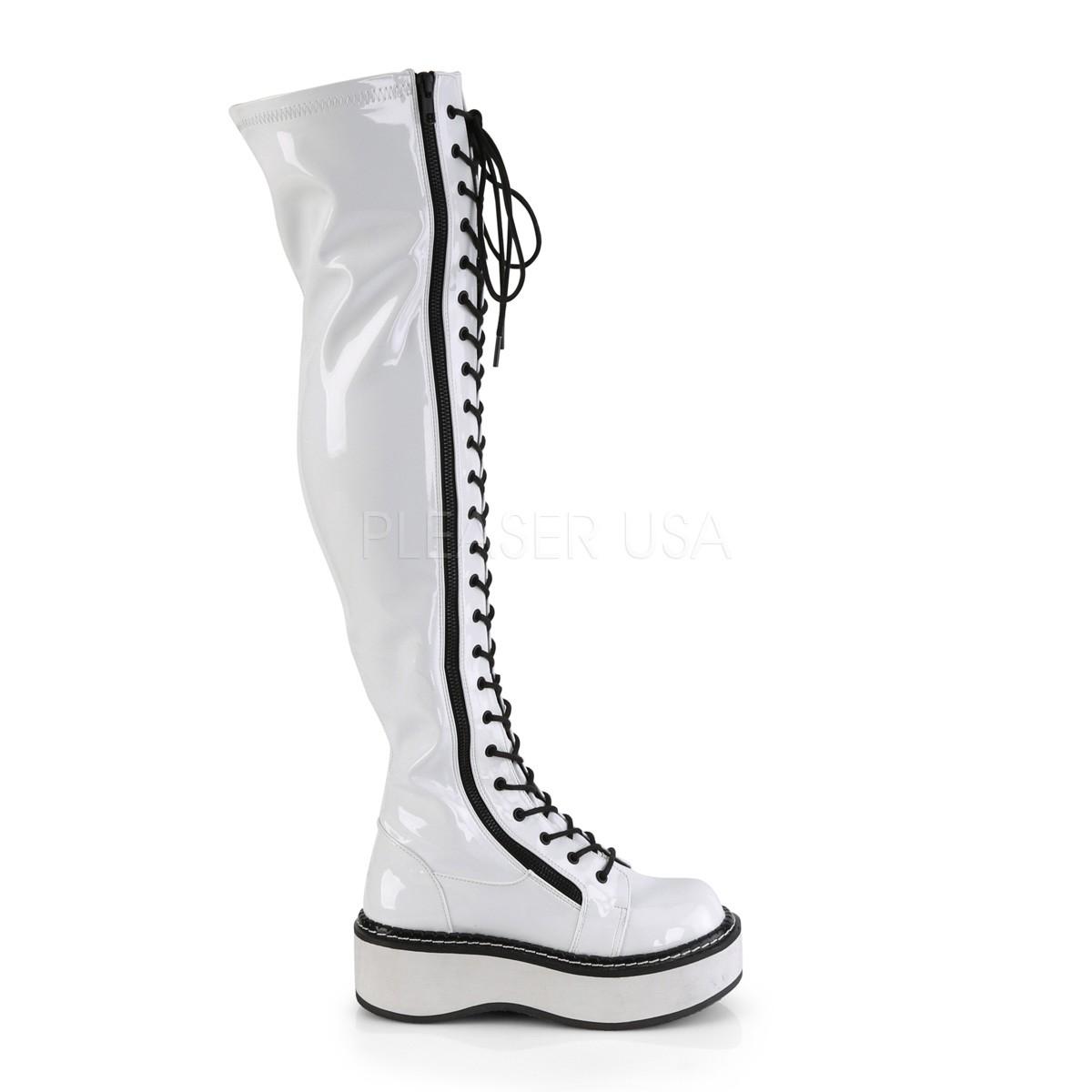 Wit Lakleer 5 cm EMILY 375 overknee laarzen met veters