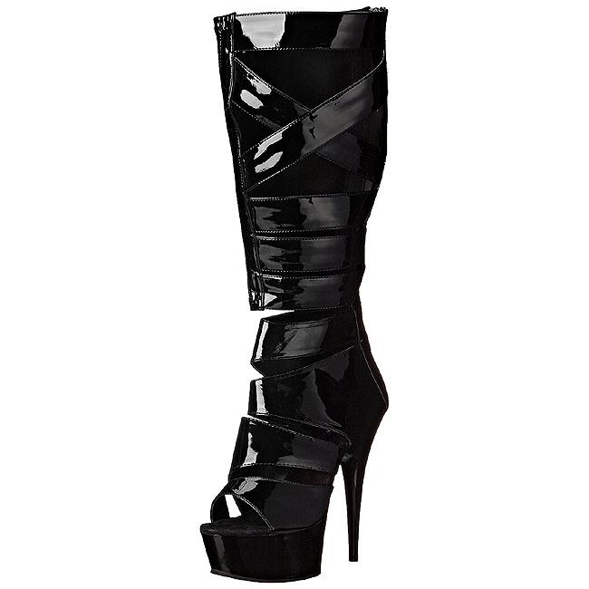 Zwart Lak 15 cm DELIGHT 600 49 gladiator laars dames met hoge hakken
