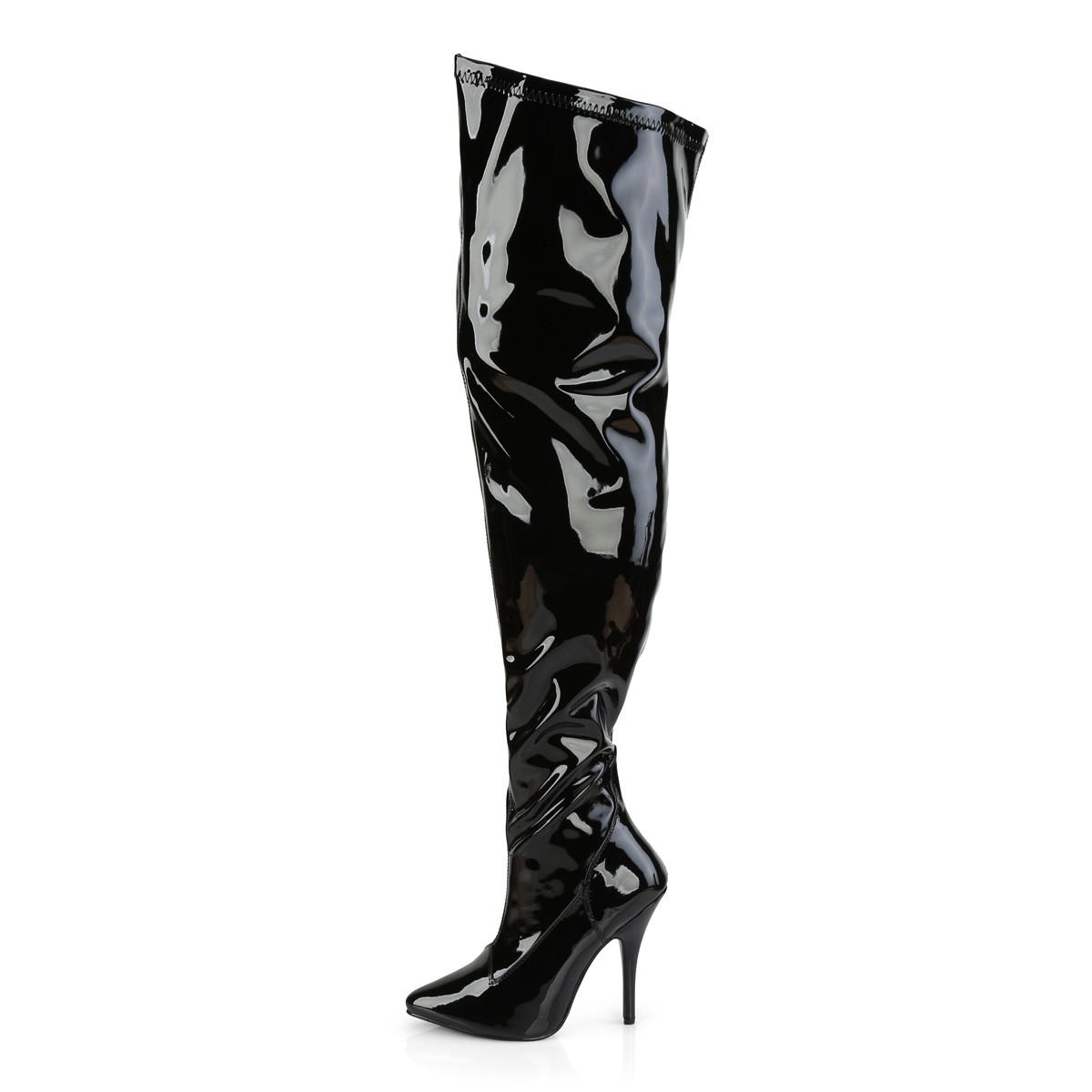 Onwijs Zwart Lakleer 13 cm stretch wijde schacht overknee laarzen brede ME-74