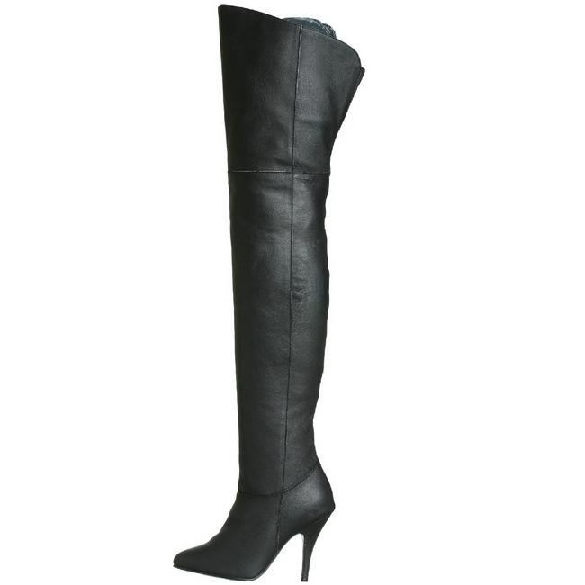Zwart Leder 10,5 cm LEGEND 8868 overknee laarzen met hakken