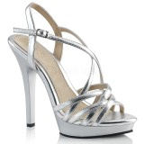 Zilver 13 cm Fabulicious LIP-113 sandalen met naaldhak