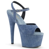 Blauw Kunstleer 18 cm ADORE-709WR sandalen met naaldhak
