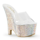 BEAU-601RS Rhinestone 16,5 cm Platform Wedge Mules Shoes